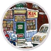 J J Joubert Vintage Milk Truck At Marvin's Grocery Montreal Memories Street Hockey Best Hockey Art Round Beach Towel