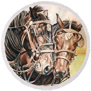 Jack And Joe Hard Workin Horses Round Beach Towel