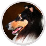 Black Jack- Collie Round Beach Towel