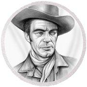 Cowboy Jack Elam Round Beach Towel