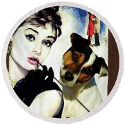 Jack Russell Terrier Art Canvas Print - Breakfast At Tiffany Movie Poster Round Beach Towel