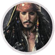 Jack Sparrow Round Beach Towel