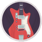 60's Electric Guitar - Black Round Beach Towel