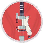 60's Electric Guitar - Red Round Beach Towel