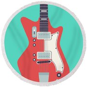 60's Electric Guitar - Teal Round Beach Towel