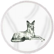 Jackal Sketch Round Beach Towel