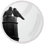 Jackdaws Together Round Beach Towel