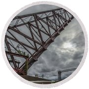 Jackknife Bridge To The Clouds Round Beach Towel by Lon Dittrick