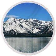 Jackson Lake Teton Panorama Round Beach Towel