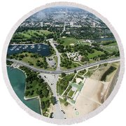 Jackson Park In Chicago Aerial Photo Round Beach Towel