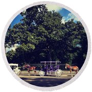Jackson Square Carriages Round Beach Towel
