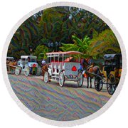 Jackson Square Horse And Buggies Round Beach Towel