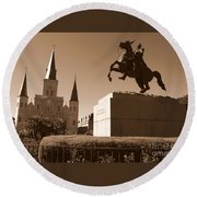 Jackson Square In New Orleans - Sepia Round Beach Towel