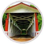 Jackson's Mill Covered Bridge Round Beach Towel