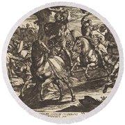 Jacob Kills Absalom, Son Of King David Round Beach Towel