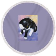 Jacob's First Day At Home Round Beach Towel