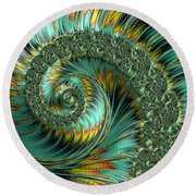 Jade And Yellow Fractal Spiral Round Beach Towel