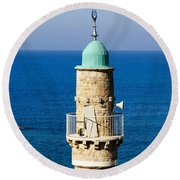 Jaffa, The Turret Of The El Baher Mosque Round Beach Towel