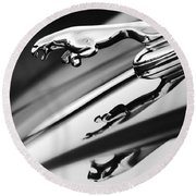 Jaguar Car Hood Ornament Black And White Round Beach Towel