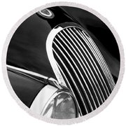 Jaguar Grille Black And White Round Beach Towel