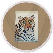 Jaguar Painting Round Beach Towel
