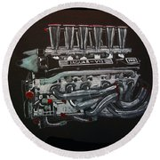 Jaguar V12 Twr Engine Round Beach Towel