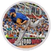 Jake Arrieta Chicago Cubs Pitcher Round Beach Towel