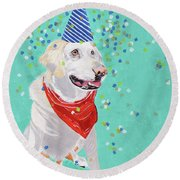 Jake The Party Animal Round Beach Towel