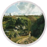 Jalais Hill At Pontoise Round Beach Towel