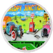 Jalopy Junction 3 Round Beach Towel