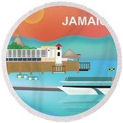 Jamaica Horizontal Scene Round Beach Towel
