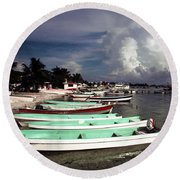 Jamaican Fishing Boats Round Beach Towel
