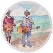 Jamaican Musician Watercolor Round Beach Towel