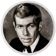 James Coburn, Vintage Actor Round Beach Towel