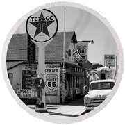 James Dean On Route 66 Round Beach Towel