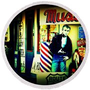 James Dean On Route 66 Round Beach Towel by Susanne Van Hulst