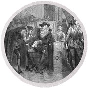 James I Appoints Bacon Lord Chancellor Round Beach Towel