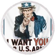 I Want You For U.s. Army Round Beach Towel