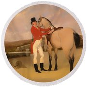 James Taylor Wray Of The Bedale Hunt With His Dun Hunter Round Beach Towel
