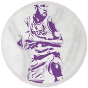 James Worthy Los Angeles Lakers Pixel Art Round Beach Towel