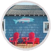 Jamsen's Fish Market Copper Harbor Michigan Round Beach Towel by Mary Lee Dereske