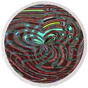 Janca Abstract Ovoid Panel 9646w9a Round Beach Towel