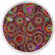 Janca Abstract Panel #097e10 Round Beach Towel