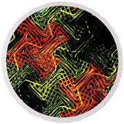 Janca Abstract Panel #5473w3 Round Beach Towel