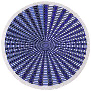 Janca Blue Oval Abstract 9646w11 Round Beach Towel