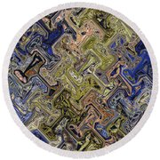 Janca Color Panel Abstract #5687 Et1b Round Beach Towel