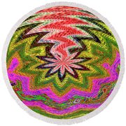 Janca Pink Color Panel Abstract #5212 Wtw6 Round Beach Towel