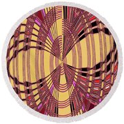 Janca Red And Yellow Abstract  Round Beach Towel