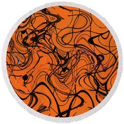 Janca Red Power Tower Abstract Round Beach Towel