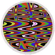 Jancart Drawing Abstract #8455ws Round Beach Towel